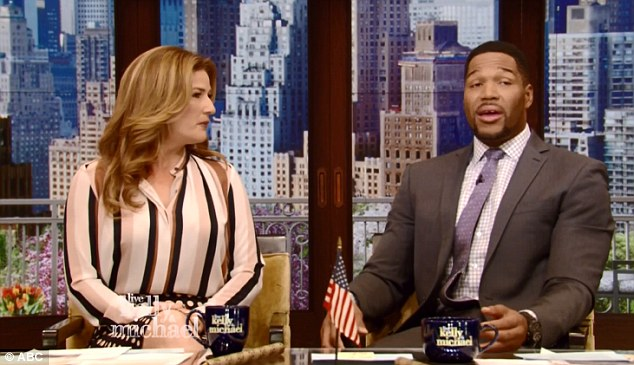 Out: Kelly Ripa did not appear on Live With Kelly and Michael Wednesday morning, the day after it was announced Michael Strahan was leaving (Strahan above with guest cohost Ana Gasteyer)