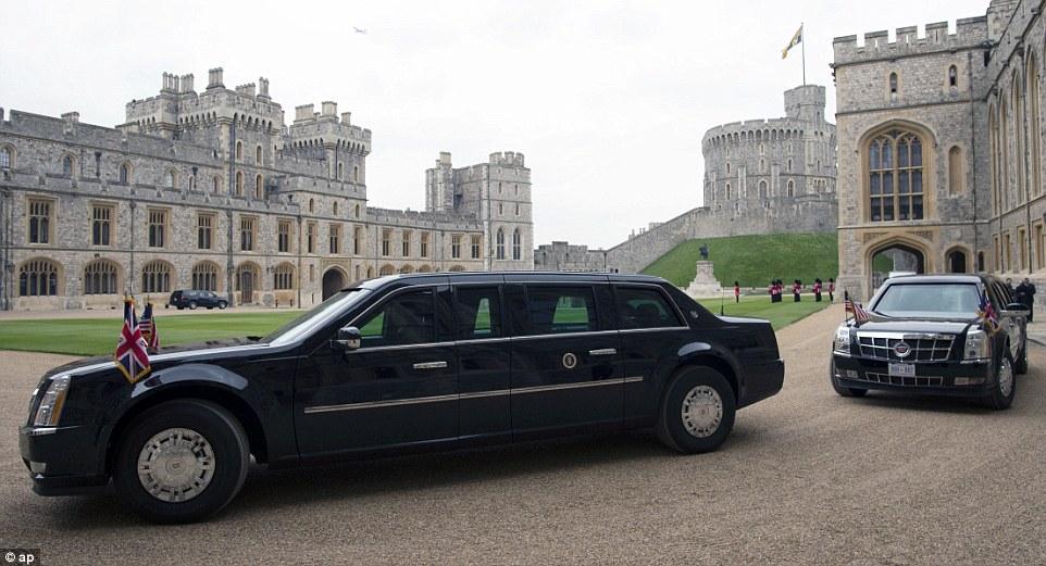 A seguir: carro blindado de Obama conhecido como 'The Beast' fazia parte de uma comitiva de 11 veículos, que levou para Windsor