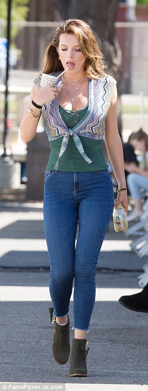 Boho babe: The former Disney Channel star opted for a retro 1970s-inspired ensemble