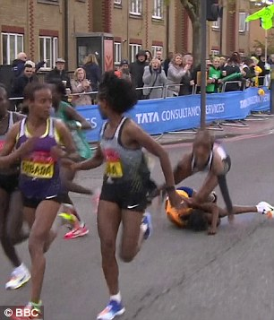 The fall took Aselefech Mergia andMary Keitany down with her as the pack sped away