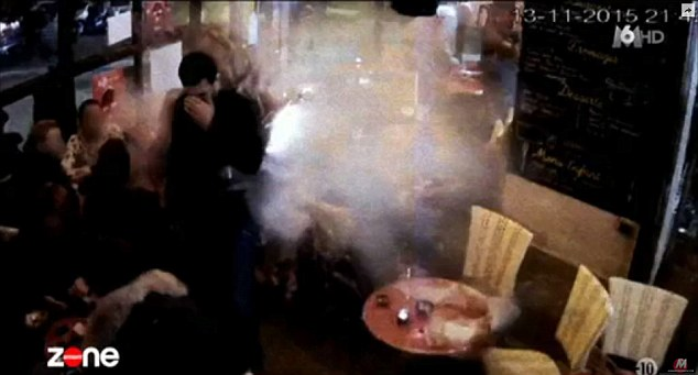 Disturbing footage showint the very moment Islamic State terrorist Brahim Abdeslam, 31, blew himself to pieces in a Paris restaurant has been broadcast for the first time in France