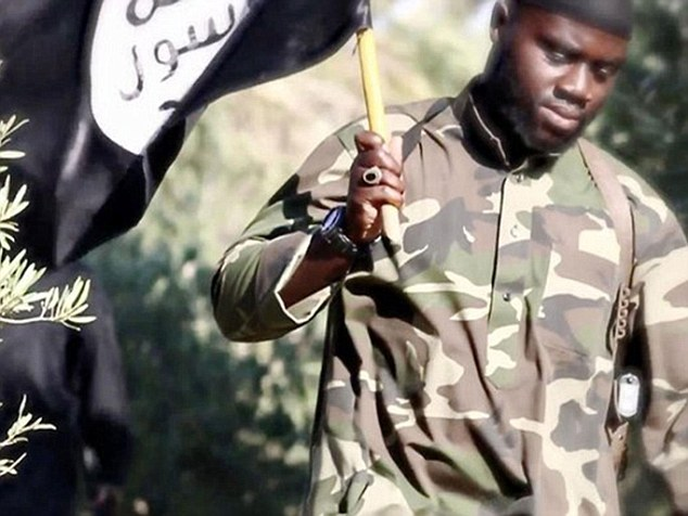 Former jihadi Harry Sarfo, pictured in an ISIS propaganda video, said bombing campaigns in Syria will only cause more people to join the terror group
