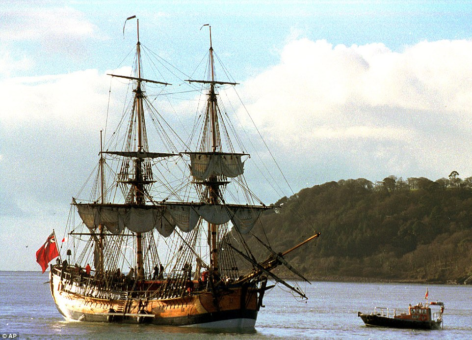 Archaeologists are set to reveal plans on Wednesday to confirm if the site of five sunken ships in the United States contains that of HMS Endeavour (replica ship pictured in 1998), the ship sailed by Captain James Cook on his voyage of discovery to Australia and New Zealand