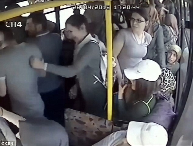 As the blows grew more and more frequent, he was forced to try and climb off the bus when the doors opened