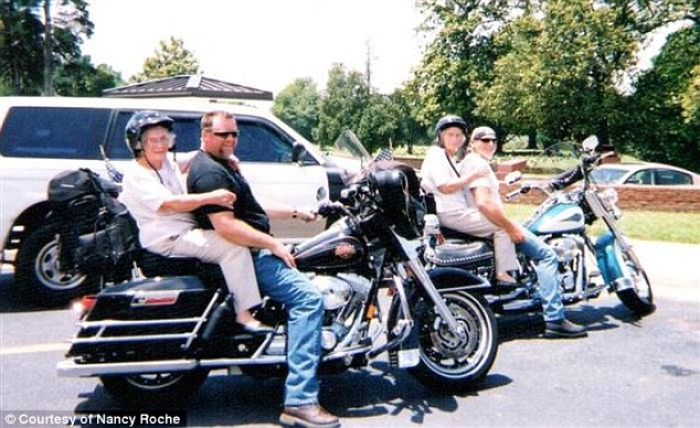 Good times: Mary and Mae Belle are pictured riding motorcycles together in Mississippi