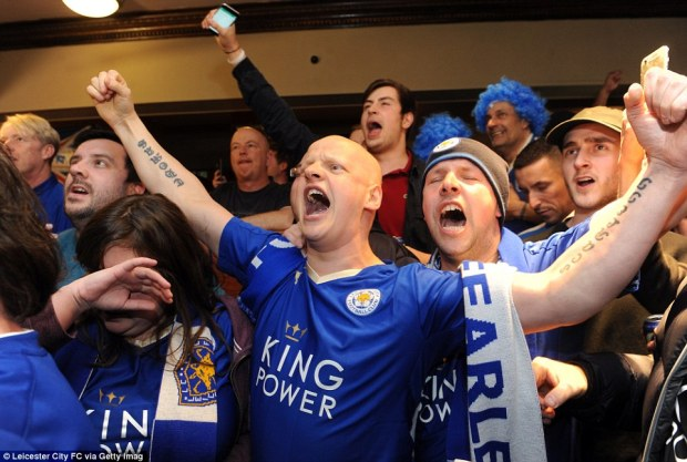 Leicester City fans at The Local Hero pub on Freemans Common watching Tottenham Hotspur play Chelsea