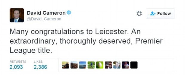 Prime Minister David Cameron called Leicester's title win  an 'extraordinary and thoroughly deserved' effort