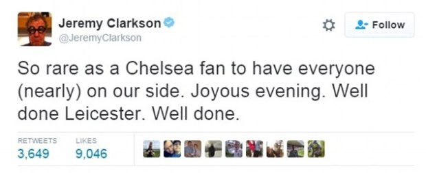 Piers Morgan, Ant and Dec and former Top Gear host Jeremy Clarkson all congratulated Leicester tonight