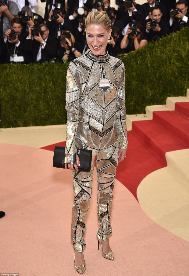 Space cowgirl? BusinesswomanJulie Macklowe was like a space disco nightmare in this badly fitted silver bodysuit
