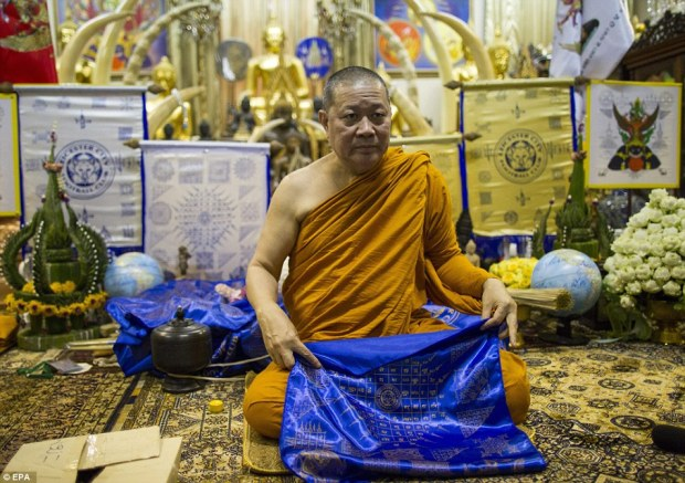 Leicester's billionaire Thai owner Vichai Srivaddhanaprabha left nothing to chance in the hunt for success and enlisted the help of monks from the Wat Traimit Withayaram Woraviharn (Golden Buddha) Temple in Bangkok, led by abbot Phra Prommangkalachan (pictured)