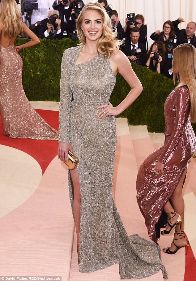 Surprise!: Kate Upton revealed that she is engaged to Justin Verlander on the Met Gala red carpet on Monday to E!