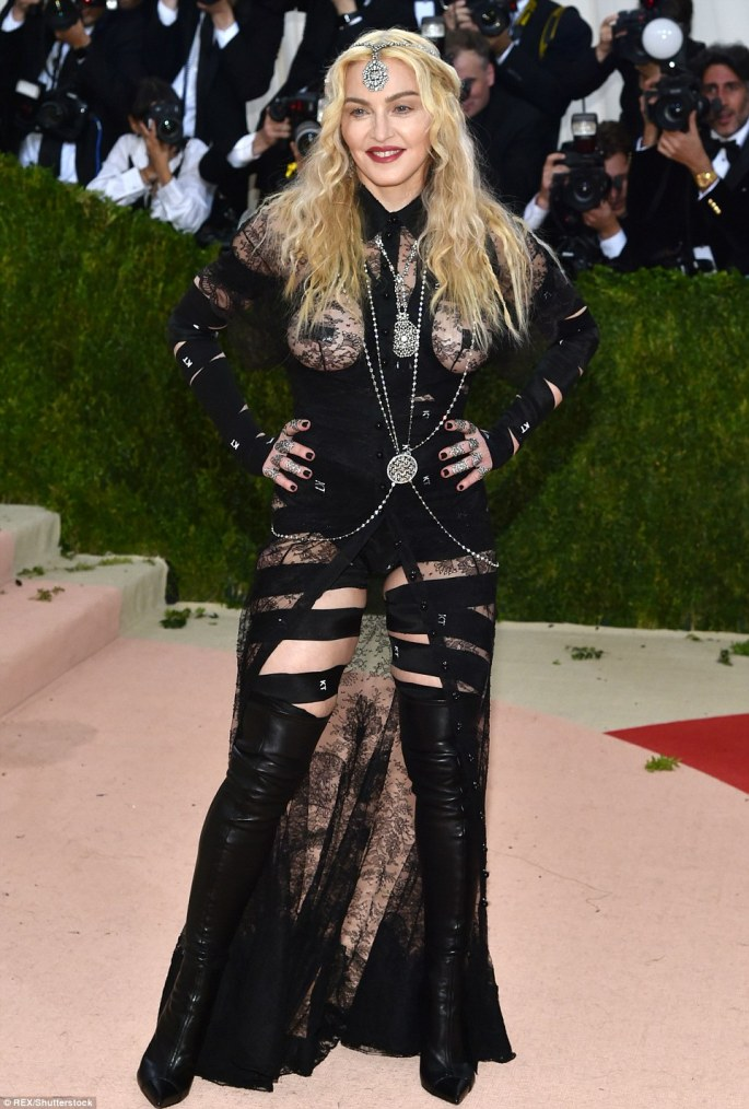 All eyes on her! Madonna knew exactly how to stand out from the crowd in her racy ensemble