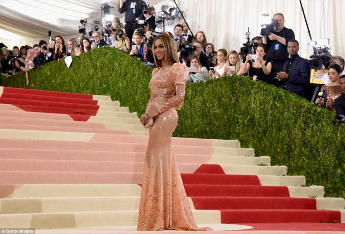 Stealing the spotlight: The 34-year-old singer went solo on the red carpet this year, leaving husband Jay Z at home