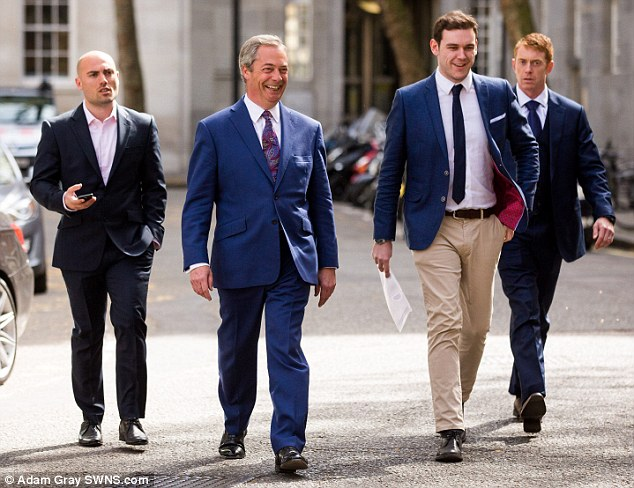 Image result for nigel farage with security