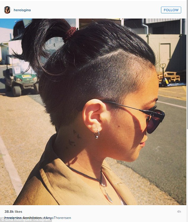 Bold new look: Gina Rodriguez showed off her buzzed haircut on an Instagram post on Wednesday