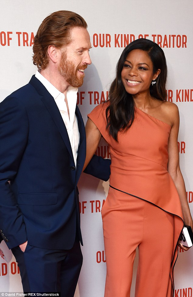 Pals: Naomie looked delighted to be reunited with her co-star Damian on the red carpet