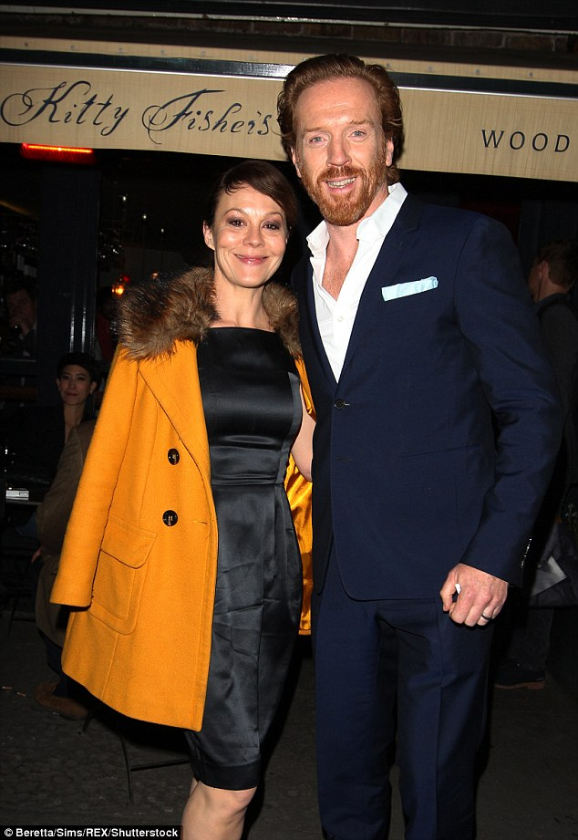 Sweet: Damian Lewis enjoyed a date night with his lovely wife Helen McCrory at Kitty Fisher's restaurant on Thursday night - following the premiere of his new movie, Our Kind Of Traitor at London's Mayfair hotel