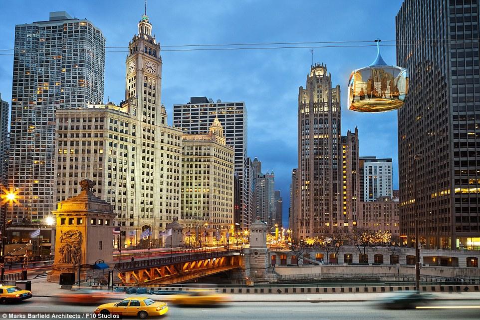 I piani per il Chicago Skyline sono stati rivelati questa settimana, mostrando baccelli di vetro che trasportano 3.000 turisti all'ora in entrambe le direzioni sul fiume Chicago