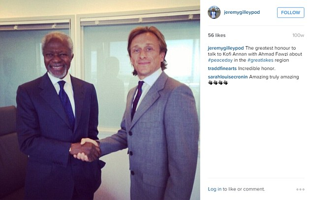 Mr Gilley (right) is seen here meeting with former United Nations Secretary General Kofi Annan