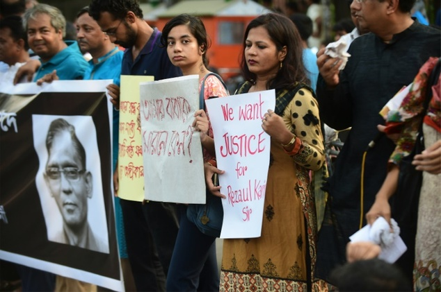 Bangladeshi demonstrators and former Rajshahi University students protest against the killing of university professorRezaul Karim Siddique