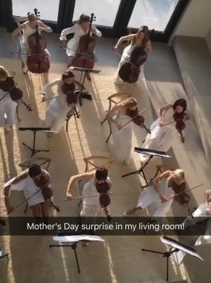 'Surprise!': Playing a medley of songs, the violins and cello players provided a fairytale start to the day for the 35-year-old, who shared a series of Snapchats of them performing the private concert in her Bel Air home