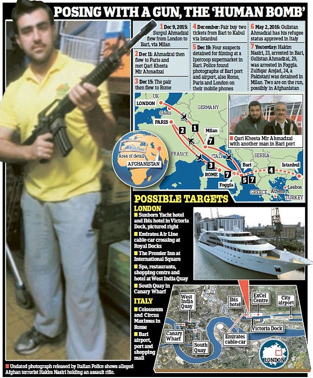 This graphic shows suspected targets in Britain including several in east London's Docklands, a hotel at West India Quay, the luxury Sunborn yacht hotel in Royal Victoria Dock and an Ibis hotel nearby