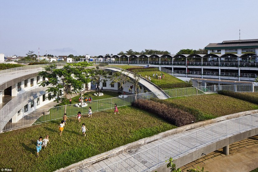 The Farming kindergarten in Bien Hoa City, Vietnam is designed for the 500 children whose mothers work in the shoe factory next door. The building was conceived as a continuous green roof, providing food and agriculture experience to children, as well as an extensive 'playground to the sky'