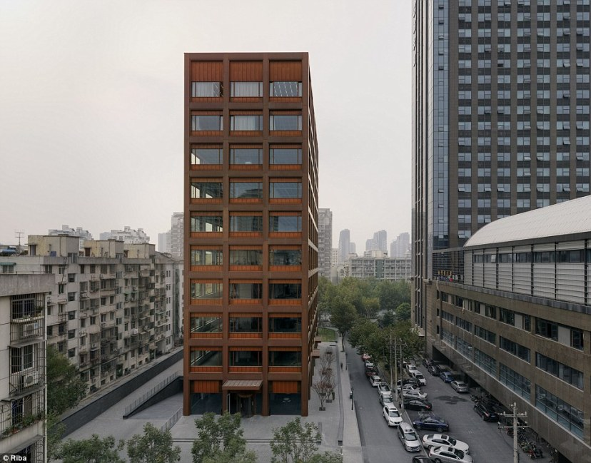 British architect David Chipperfield designed this office building in Moganshan Road in the city of Hangzhou, China with a first - a facade made entirely of copper