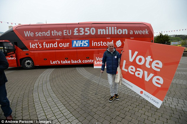 The Vote Leave campaign bus (pictured) boasts the slogan: 'We send the EU £350 million a week. Let's fund our NHS instead'.