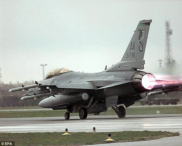 Sources claim F-16s based at Aviano Air base in Northern Italy (file photo from 1999) were being armed and fuelled ready to provide air support for the Americans desperately fighting for their lives 1,000 miles away