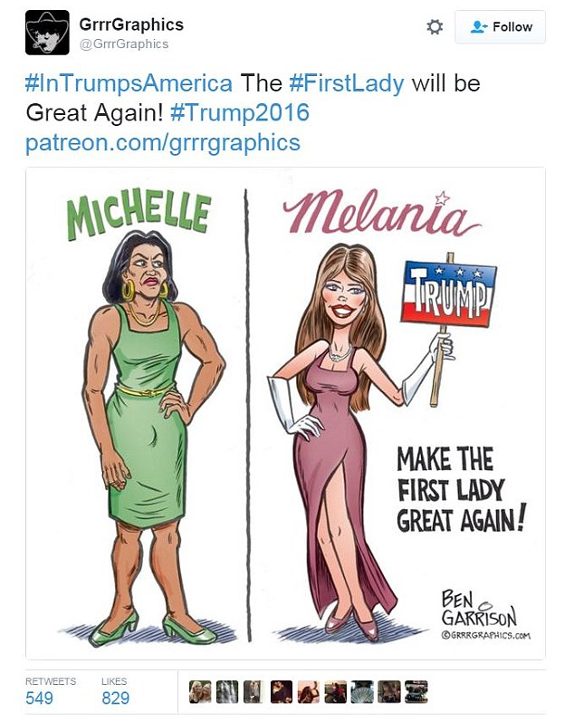 A cartoonist has been accused of racism after he portrayed Michelle Obama as masculine and butch next to a pageant-ready Melania Trump in a controversial drawing