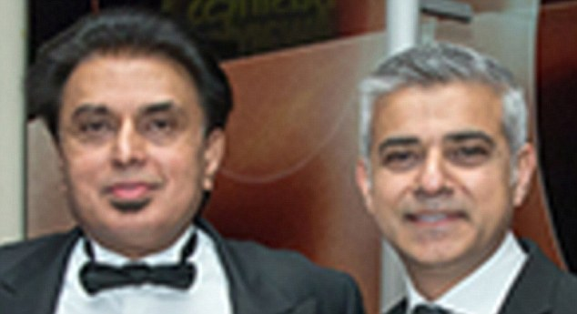 Supporters: Care home tycoon Farouq Sheikh, left, and Sadiq Khan at the Asian Business Awards in London in March