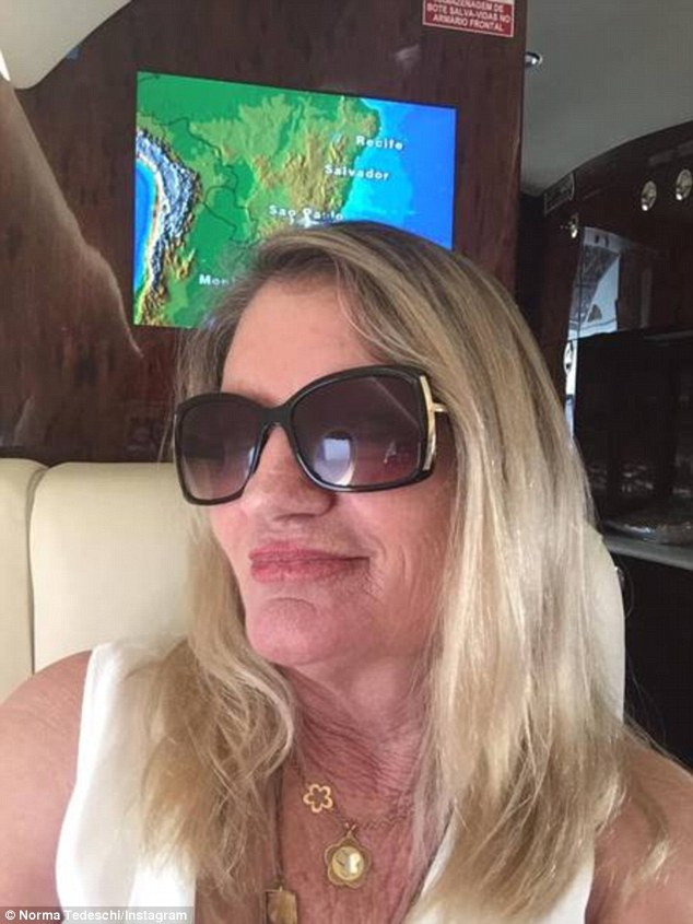 Mama: Marcela's mother Norma, who at 62 is thirteen years younger than her son-in-law, posts pictures of the results of plastic surgery around her eyes as well as photos of her flying first class with her daughter