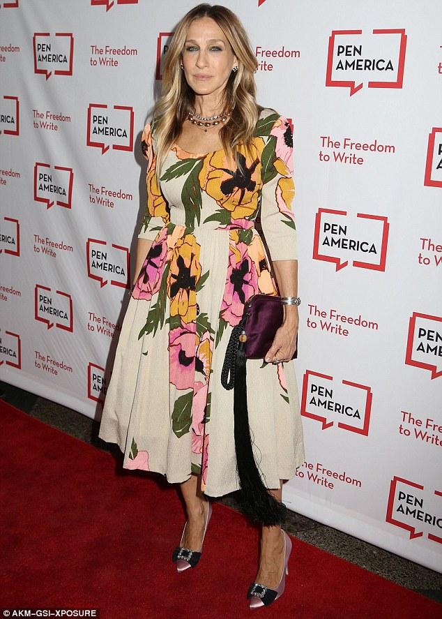 Sarah Jessica Parker Wears A Floral A Line Dress At PEN