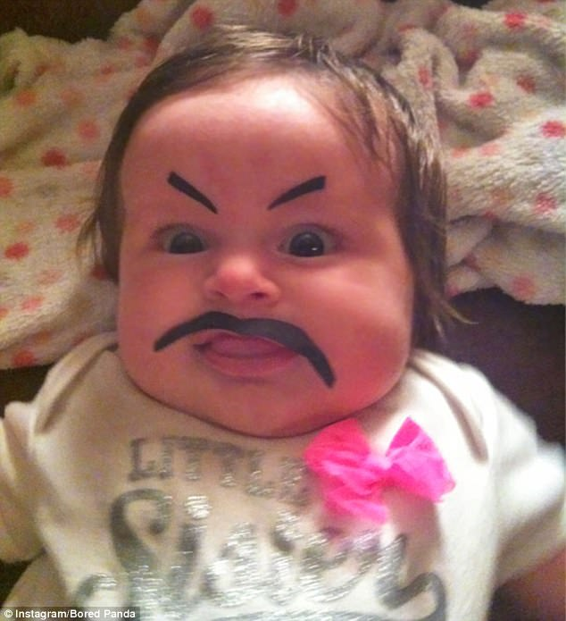 One father who was left alone for 10 minutes drew a comical moustache and eyebrows on his baby daughter