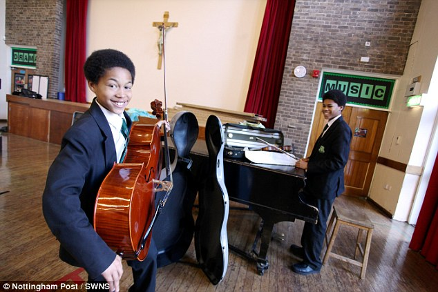 Their parents, neither of whom are musical, have sacrificed much to ensure their children can pursue their passions.  Pictured: Sheku and his older brother Braimah Kanneh-Mason