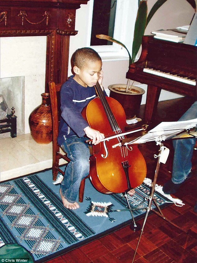 Sheku picked up the cello at age six (pictured) and had reached grade eight by the age of nine