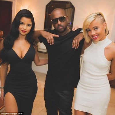 Demi Rose, left, was previously a member of Taz's Angels. Taz, centre, has been described as the 'black Hugh Hefner'