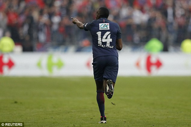 The France international midfielder points towards the stands as he celebrates his goal