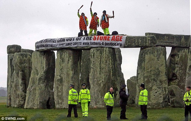 Disruptive: He also succeeded in closing the Blackwall Tunnel and the M4, interrupted National Lottery programmes and scaled numerous high profile buildings including Stonehenge (pictured) and Tower Bridge
