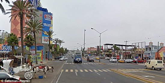 Rosarito (a general view pictured above) is just 30 minutes from the US border is is popular with tourists. It is also close to the border town of Tijuana, famous for its wild party scene, strip bars and legal brothels