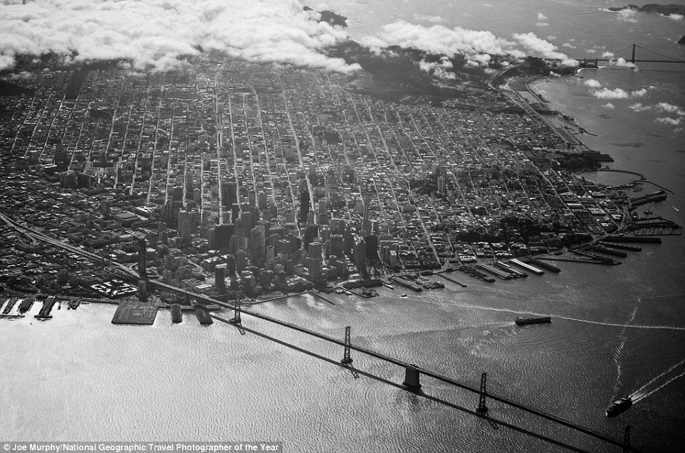 Taken on a clear day from the air, Joe Murphy said he was lucky enough to have his camera with him, and the weather was right for the shot. The Bay Bridge is visible in the foreground, with the Golden Gate Bridge in the distance