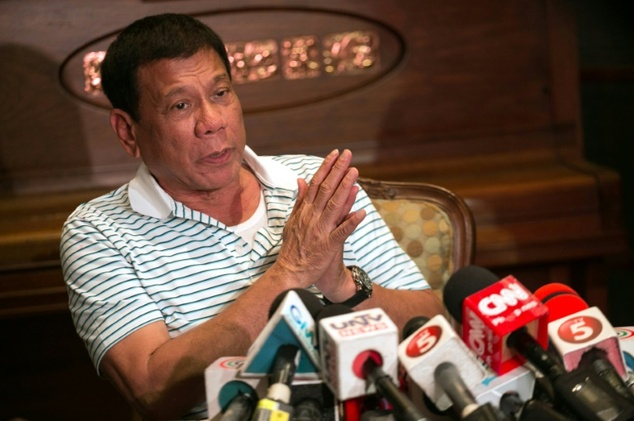 Philippines' president-elect Rodrigo Duterte speaks during a press conference in Davao City on May 23, 2016