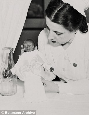 Behind the gaudy facade, premature babies were fighting for their lives, attended by a team of medical professionals (pictured one of Couney's nurse with a premature baby)