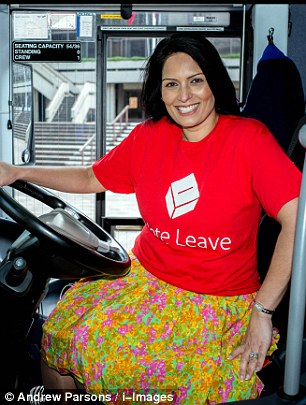 Employment minister Priti Patel (pictured) one of the leading Brexit campaigners, is planning a 'Save the British Curry Day' next month to highlight the strain the EU is putting on the industry.