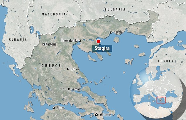 The tomb has been found in the Ancient Stagira region of Greece (pictured on map)