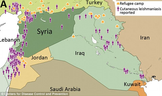 This map shows how the disease has spread out of Syria into countries such as Jordan, Iraq and Turkey