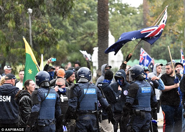 About 500 riot squad officers was on hand to try to control the peace, however the day quickly turned violent, with some protesters even being bashed with flagpoles flying the Australia flag