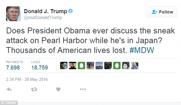 Trump slammed Obama again the next day on Twitter, saying the President should have mentioned the 1941 surprise attack by the Japanese army on Pearl Harbor