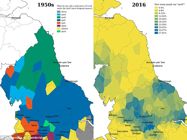 In the 1950s there were distinct regional differences in the words used to describe a piece of wood under the skin, particularly in the north of England (pictured left) but today these have almost totally vanished (right)
